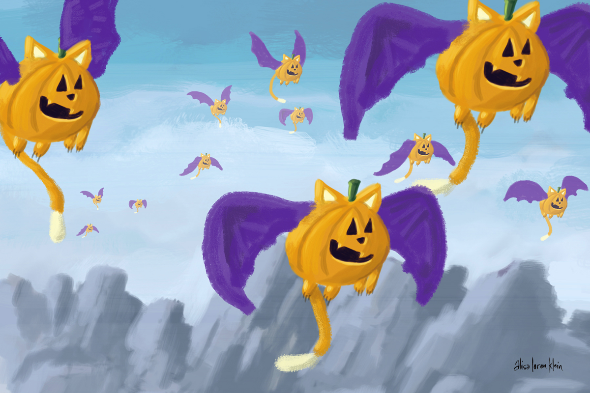 Pumpkin Bat Cats of Oz Postcard