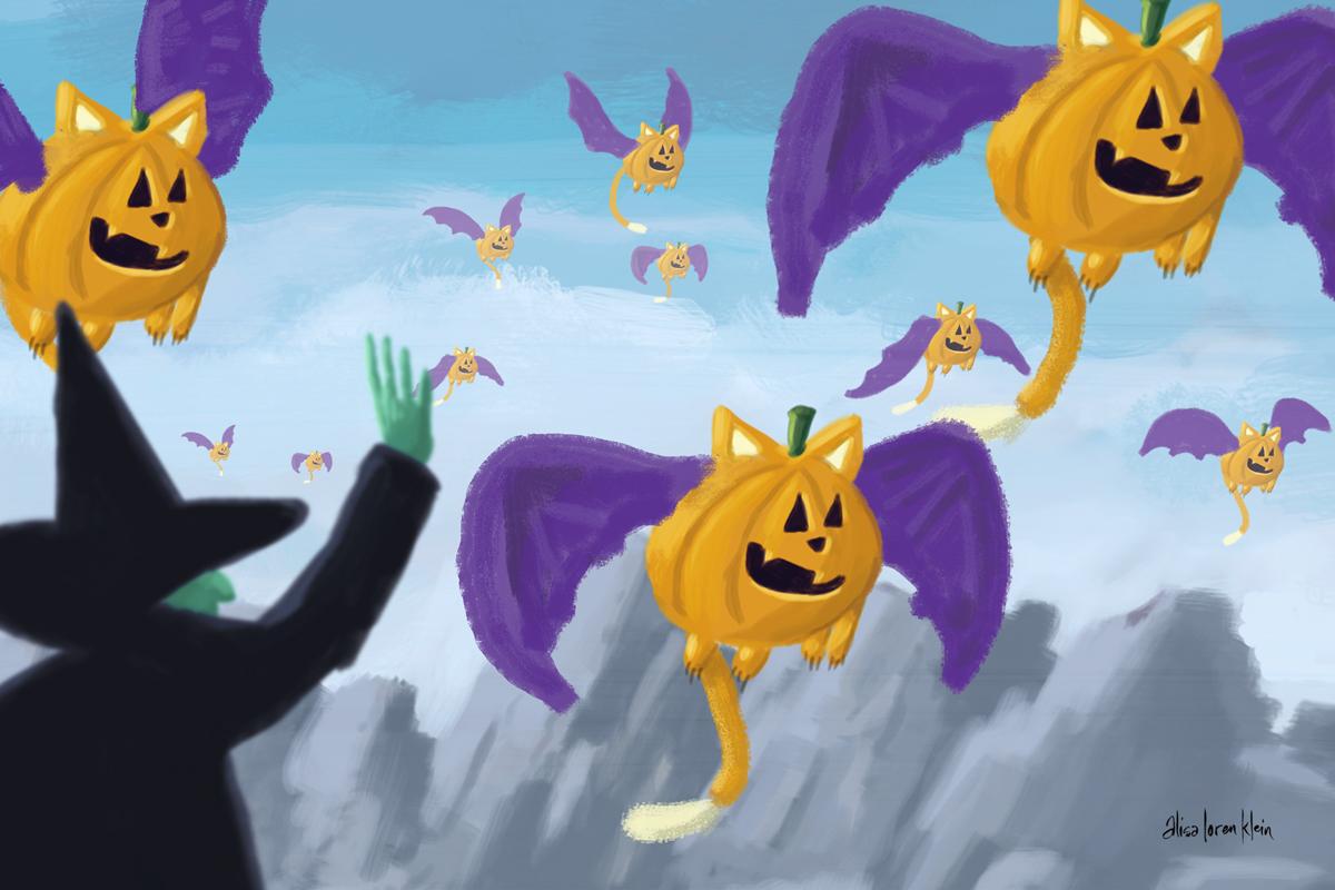 Pumpkin Bat Cats of Oz Postcard