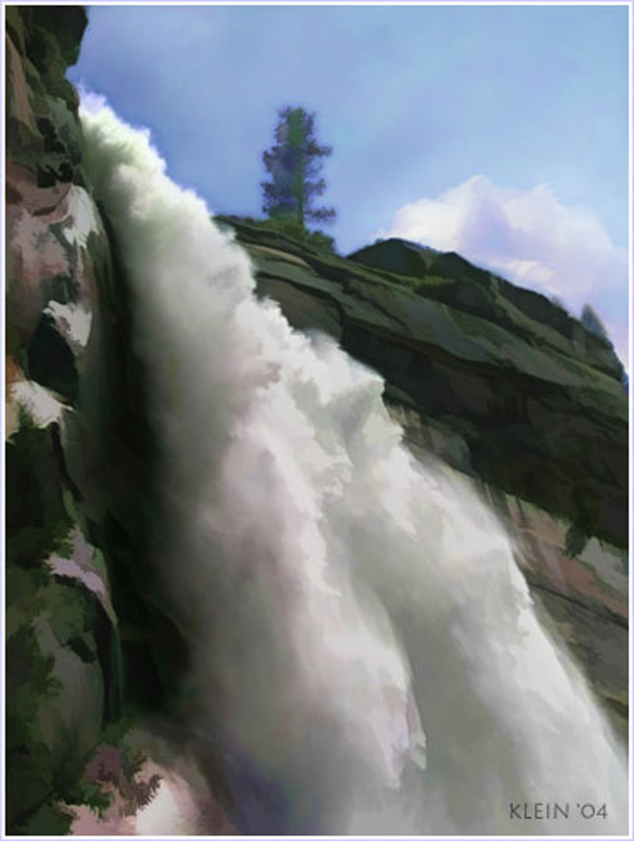 Waterfall Painting Yosemite